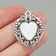 10Pcs Antique Silver Flower Heart Charms Pendants DIY Jewelry Necklace Making