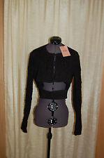 NWT MIU MIU Black Silk Bland Black Glacca Short Jacket Size 46 Made in Italy