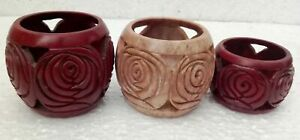 Tea Light Candle Holder Stone Hand Crafted Unique Carving Indian Home Art Lot 3