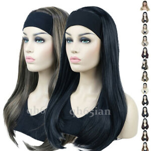 Ladies Long Straight 3/4 Half Wig Hair With Head Band Silky Black Natural wigs