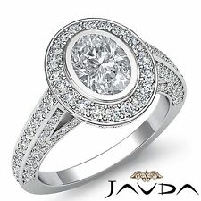 Halo Pave Set Oval Diamond Engagement Ring GIA F Color VS1 18k White Gold 2.75ct