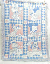 Vtg Disney Baby Woven Tapestry Mickey Minnie Blanket Throw