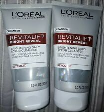 (2) 5oz L'Oreal RevitaLift Bright Reveal Daily Scrub Glycolic Cleanser Face Wash