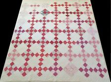 Antique 1900's Hand Stitched Pink Red & White (9 spi) Nine Patch Quilt 70x65