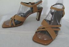 "Women's Sam & Libby Leather Strappy Heel Sandals-Tan-9 M-NWOB-3"" Heels"