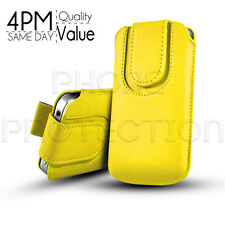 LEATHER BUTTON PULL TAB SKIN CASE COVER POUCH FOR VARIOUS APPLE PHONES