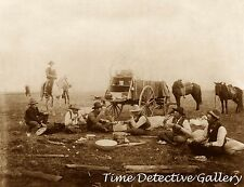 Cowboys Eating in Roundup Camp - Chuck Wagon, Texas - 1906 -Historic Photo Print