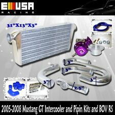 Bolts on 05 06 07 08 Mustang GT Intercooler 31X13X3 & Piping Kit & BOV RS Type