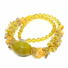 Lemon and lime gemstone crystal cluster necklace - Balouli