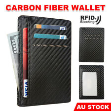 Carbon Fiber Slim Wallet Card Holder Case Pocket Minimalist Leather RFID Block