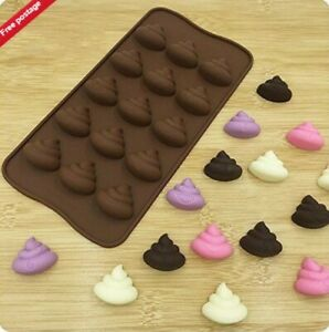 15 Poo Emoji Chocolate Candy Silicone Mould Jelly Mold Resin Decorating wax melt