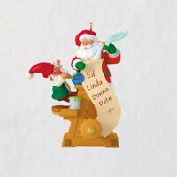 Hallmark 2018 Mini Checking It Twice Santa and Elf Ornament With Motion