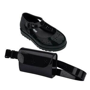 NWT MINI MELISSA Com Pochete BB Sandal Belt Bag Set Enamel Shiny  Black 32697