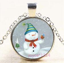 Christmas Snowman Cabochon Glass Tibetan silver Chain Pendant Necklace #7848