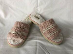 Dearfoams Woman's Cozy Knit Indoor / Outdoor Memory Foam Sandal Slippers Lg 9-10