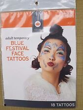 New ! Adult TemporaryBlue Festival Face Tattoos Halloween Costume 18 tattoos