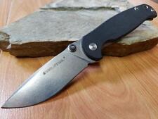 "Real Steel H6-S1 Folding Knife Black G10 14C28N Stonewashed Drop Pt EDC 7"" 7771"