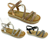Womens Ladies Low mid Wedge Diamante Summer Sandals Embellished Holiday shoes uk
