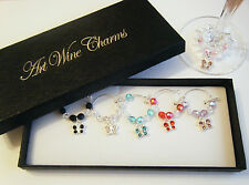 boxed set of 6  wine glass charms crystal butterflies ideal gift dinner party