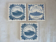 Holland America Lines 3 Tile Coasters  2 MS Statendam V and 1 Ryndam II