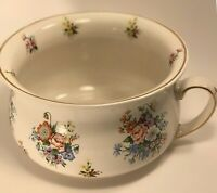 Vintage Royal Ceramic Chamber Pot Made in England Potty Floral #5022 Gold Trim