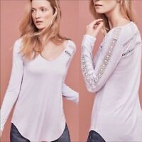 Anthropologie Deletta V Lace Line Tee Top Lavender XS