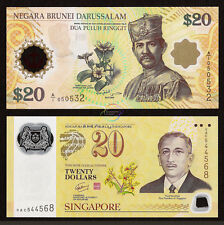 SINGAPORE BRUNEI SET 2 PCS 20 DOLLARS RINGGIT CIA COMMEMORATIVE 2007 POLYMER UNC