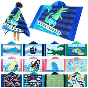 Baby Hooded Bath Towel Poncho Kids Bathrobe Quick Dry Travel Sports Beach Towel