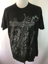 Rolling Stone Men's 2XL XXL Black Crewneck T-shirt Rock & Roll Guitars Print