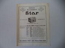 advertising Pubblicità 1949 BATTERIE ACCUMULATORI STAR - MONZA