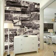 3D Effect Natural Embossed Stack Stone Brick Tile Vinyl Wallpaper Decor Gray