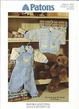 Double knitting pattern for baby/childs cardigan,sweater and dungarees 16-20 in