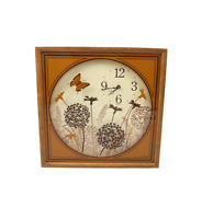 Vintage 70s Mid Century Modern MCM Wood Glass Butterfly Hanging Wall Clock USA