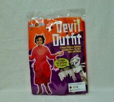 H/WEEN CHILDREN'S DEVIL OUTFIT 4 PCS SET INC:DRESS,TIE-BELT,HORNS,CHOKER.AGE4-6
