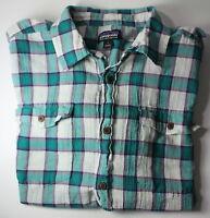 Patagonia Organic Cotton Large Short Sleeve Button Down Teal Purple Plaid Shirt
