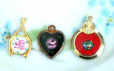 #649P Vintage Findings Lot Charms Cabs Cabochons Guilloche Pendants Jewelry NOS