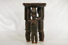 "Hand-Carved 3-Figure Bete Stool 27.5"" - Ivory Coast - African Art"