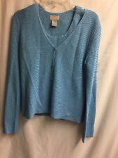Sigrid Olsen Sport Set Sleeveless Top & Sweater Size P Teal 54% Rayon A287ss