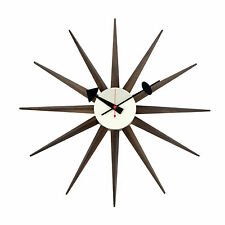 Walnut Wood Sunburst Clock, Handmade Antique Retro Classic Modern Wall Clock