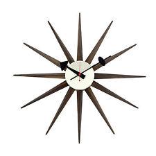 Walnut Wood Sunburst Antique Retro Classic Mid-Century Clock George Nelson Large