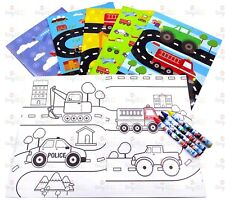 Transportation Vehicles Coloring Book Set with Crayons Party Favor, 6 Pack