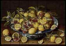28x20 Pomegranates Kitchen Backsplash Mural Tumbled Marble Tiles Van Hulsdonck