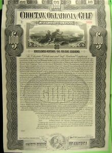 $1,000 bond on Choctaw, Oklahoma and Gulf Railroad Co 1902 payable in Gold Coin