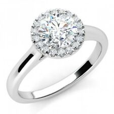 1 Ct Round Cut D/vvs1 Solid 14k White Gold Halo Engagement Ring