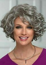 Heat Resistant Wig New Elegant Womens Tousled Short Gray Curly Natural Full Wigs