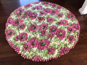 ANTHROPOLOGIE Rare Vintage Shabby Chic Dahlia Floral Round Tablecloth Pom Pom