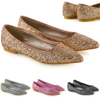 Womens Pointed Ballet Flats Ladies Sparkly Glitter Slip On Pumps Shoes Size 3-9