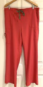 """Carhartt Force Regular XL Women's Pink Scrub Pants 31"""" inseam Green accents"""