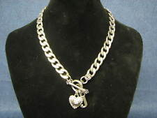 Vintage Juicy Couture Crystal Pave Toggle Heart J Silver Tone Necklace Signed