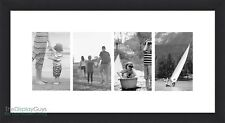 10x20 Black Wooden Wall Decor Picture Frame w/ 1pc White Mat for Four 4x6 Photo